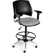 OFM Stars Fabric Swivel Stool with Arms & Drafting Kit, Putty