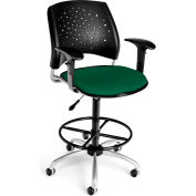 OFM Stars Fabric Swivel Stool with Arms & Drafting Kit, Forest Green