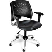 OFM Stars Series Swivel Task Chair with Arms, Plastic, Mid Back, Black