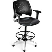 OFM Stars Plastic Swivel Stool with Arms & Drafting Kit, Black