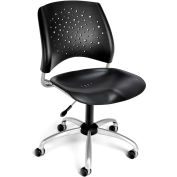OFM Star Series Swivel Armless Task Chair, Plastic, Mid Back, Black