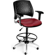 OFM Stars Vinyl Swivel Stool with Arms & Drafting Kit, Wine