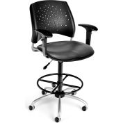 OFM Stars Vinyl Swivel Stool with Arms & Drafting Kit, Charcoal