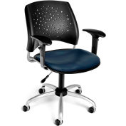 OFM Stars Vinyl Swivel Chair with Arms, Navy