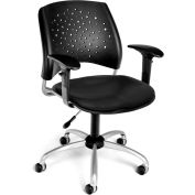 OFM Stars Vinyl Swivel Chair with Arms, Black