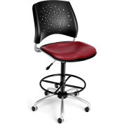 OFM Stars Vinyl Swivel Stool with Drafting Kit, Wine