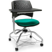 OFM Foresee Mobile Tablet Arm Chair with Storage Basket - Shamrock Green - Stars Series
