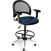 OFM Moon Vinyl Swivel Stool with Arms & Drafting Kit, Navy