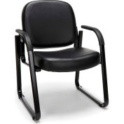 OFM Guest and Reception Chair with Arms, Anti-Microbial/Anti-Bacterial Vinyl, Black