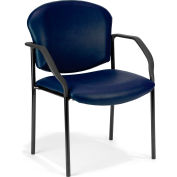 OFM Manor Series Guest and Reception Chair with Arms, Anti-Microbial/Anti-Bacterial Vinyl, Navy