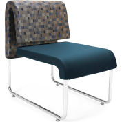 Uno Lounge Chair - Blue Jay Fabric Back & Navy Leatherette Seat - Pkg Qty 2