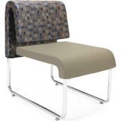 Uno Lounge Chair - Blue Jay Fabric Back & Taupe Leatherette Seat - Pkg Qty 2