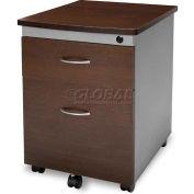 OFM Modular Wheeled Mobile 2-Drawer File Cabinet Pedestal, Walnut