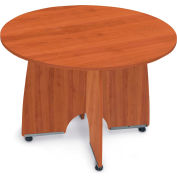 """Conference Table 43"""" Round - Cherry & Silver"""