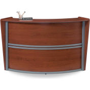 OFM Marque Series Single Unit Reception Station, Cherry with Silver Frame