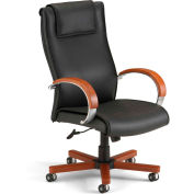 OFM Apex Series Executive Office Chair, Leather, High Back, Black with Cherry