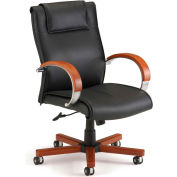 OFM Apex Series Executive Office Chair, Leather, Mid Back, Black with Cherry