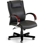 OFM Apex Series Executive Office Chair, Leather, Mid Back, Black with Mahogany