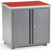 OFM Mesa Series Wheeled Locking Mobile Utility Station Cabinet with Laminate Top, Cherry Finish