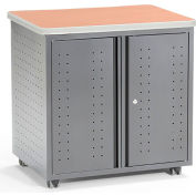 OFM Mesa Series Wheeled Locking Mobile Utility Station Cabinet with Laminate Top, Maple Finish