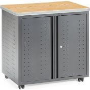 OFM Mesa Series Model 66746 Wheeled Locking Mobile Utility Station Cabinet with Laminate Top, Oak