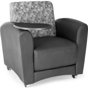 OFM InterPlay Series Single Seat Tablet Chair, Black Seat with Nickel Back and Tungsten Tablet
