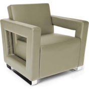 OFM Lounge Chair  -  Taupe Polyurethane Back & Seat W/Chrome Feet
