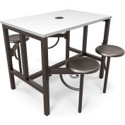 OFM Endure Series Standing Height White Dry-Erase Top Table with 4 Attached Gray Seats