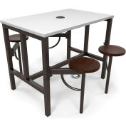 OFM Endure Series Standing Height 4 Seat Table, White Dry-Erase Top with Walnut Seats