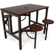 OFM Endure Series Standing Height Walnut Table with 4 Attached Walnut Seats