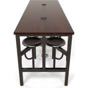 OFM Endure Series Standing Height Walnut Table with 8 Attached Gray Seats