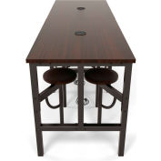 OFM Endure Series Standing Height 8 Seat Table, Walnut Top with Walnut Seats