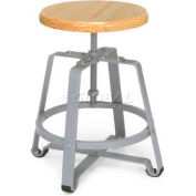 Endure Short Stool W/Maple Wooden Seat, Maple/Gray