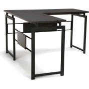 Essentials by OFM ESS-1020 L Desk with Metal Legs, Espresso with Black Frame