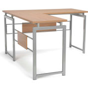 Essentials by OFM ESS-1020 L Desk with Metal Legs, Harvest with Silver Frame
