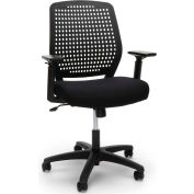 Essentials by OFM ESS-2055 Plastic Back Ergonomic Task Chair, Black with Black