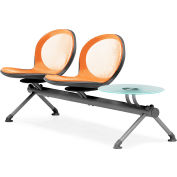 NET Series Beam with 2 Seats and 1 Table - Orange