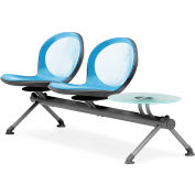 NET Series Beam with 2 Seats and 1 Table - Sky Blue