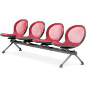 OFM NET Series 4-Unit Beam Seating with 4 Seats, Red