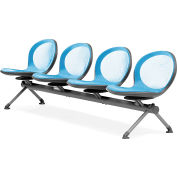 OFM NET Series 4-Unit Beam Seating with 4 Seats, Sky Blue