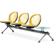 NET Series Beam with 3 Seats and 1 Table - Yellow