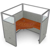 "OFM RiZe Series 63"" x 60"" 1-Unit Workstation Kit, Vinyl with Translucent Top, Gray with Cherry Desk"