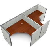 "OFM RiZe 2 Workstation Unit Kit 47""H x 60""W, Full Vinyl Panel, Gray Panel/Cherry Desk"