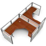 "OFM RiZe 2 Workstation Unit Kit 47""H x 154.5""W, Vinyl Panel, Gray Panel/Cherry Desk"