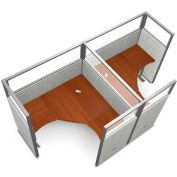 """OFM RiZe Series 63"""" x 60"""" 2-Unit Workstation Kit, Vinyl with Translucent Top, Gray with Cherry Desk"""