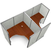 "OFM RiZe Series 63"" x 60"" 2-Unit Workstation Kit, Full Vinyl Panels, Gray with Cherry Desk"