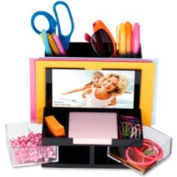 "Officemate Desk Organizer with 9 Compartments & 3"" x 5"" Photo Frame Clear"