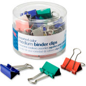 """Officemate® Binder Clips, Medium, 1/4"""" Width, 5/8"""" Capacity, Assorted Colors, 24/Pack"""