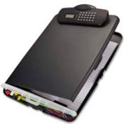 "Officemate® Slim Clipboard Storage Box with Calculator, 10"" x 1-3/4"" x 10-1/2"", Charcoal"