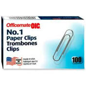 Officemate® No. 1 Paper Clips, Silver, 100/Box